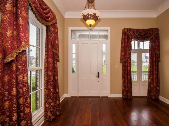 The entrance of the home is warm and inviting.