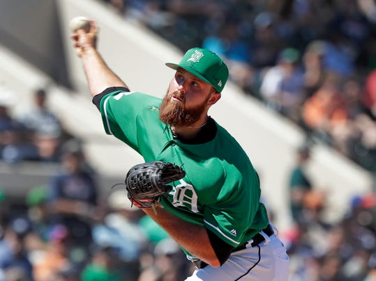 Detroit Tigers' Buck Farmer pitches against the New York Yankees in the fifth inning of a spring training baseball exhibition game, Saturday, March 17, 2018, in Lakeland, Fla. (AP Photo/John Raoux)