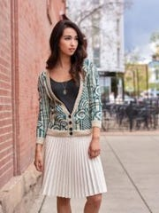 The Savoy Cardigan is one of Kunnecke's favorite designs,