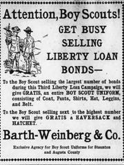 Staunton business Barth-Weinberg & Co. offered a complete uniform to the Boy Scout who sold the largest number of bonds during the Third Liberty Loan Campaign.