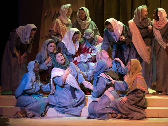 """The cast of the Pensacola Little Theatre's production of Andrew Lloyd Webber's """"Joseph and the Amazing Technicolor Dreamcoat"""" rehearse for the show on Jan. 24. Performances continue through Feb. 11."""