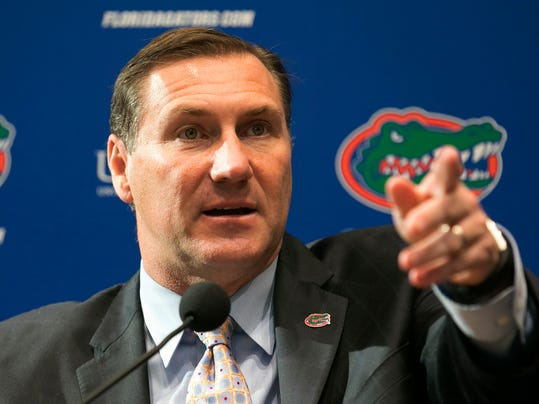 FILE - In this Monday, Nov. 27, 2017, file photo, Dan Mullen speaks during an NCAA college football news conference after being introduced as the new head football coach at Florida, in Gainesville, Fla. At least one rankings list has Mullen as one of the coaches most likely to succeed in 2018. (Alan Youngblood/Star-Banner via AP, File)