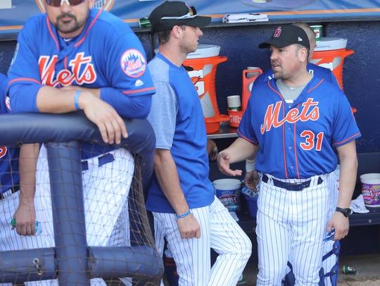 Pitcher Steven Matz talks with former Mets catcher