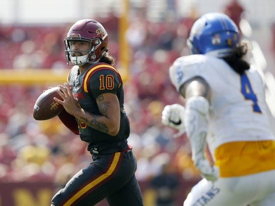 Iowa State quarterback Jacob Park looks down field