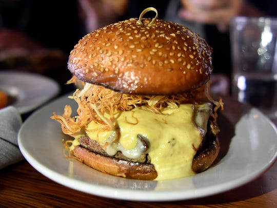 """The Impossible Burger"" at The Barrow House in Clifton, NJ. The ""burger"" is vegetarian, made with smoked portabella mushrooms, carmelized onions, havarti cheese, shoestring potato crisps, chive aoili, and horseradish dijonaise."