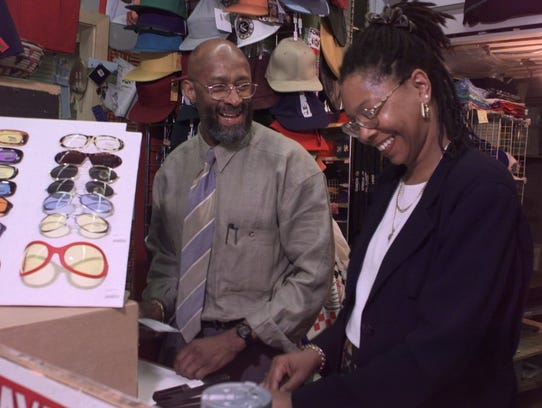 Gene and Ruby Lockhart shared a light moment behind the counter of All Day Sunday in Midtown Plaza in 1998.