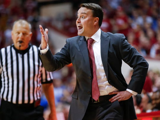Indiana Hoosiers head coach Archie Miller is seen during the game against the Duke Blue Devils at Simon Skjodt Assembly Hall in Bloomington, Ind., on Wednesday, Nov. 29, 2017.