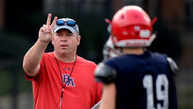 Brentwood Academy head coach Cody White calls a play during practice Monday, July 23, 2018, in Brentwood, Tenn.