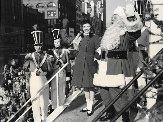 Jeanie Daar Sinclair-Smith was a regular at Hudson's Thanksgiving Day parades, posing here with Santa Claus.