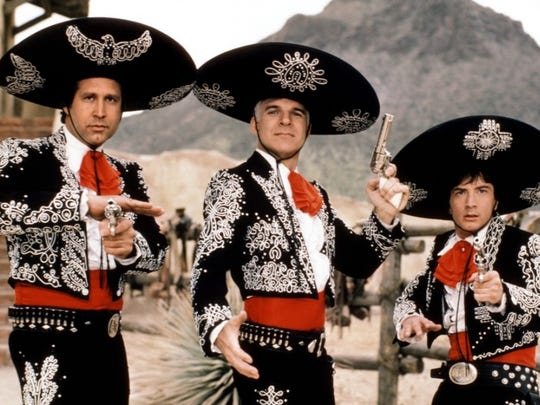 "Chevy Chase, Steve Martin and Martin Short are ""Three Amigos!"" in the 1986 film comedy. Showing July 2, it's the second of two free screenings of western comedies at Pack Memorial Library downtown."