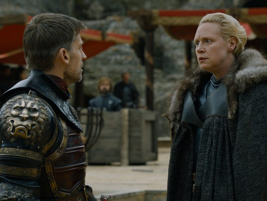 Jaime Lannister (Nikolaj Coster-Waldau), left, and Brienne of Tarth (Gwendoline Christie), seen here in the Season 7 finale, have enjoyed one of the most intriguing relationships on HBO's 'Game of Thrones.'
