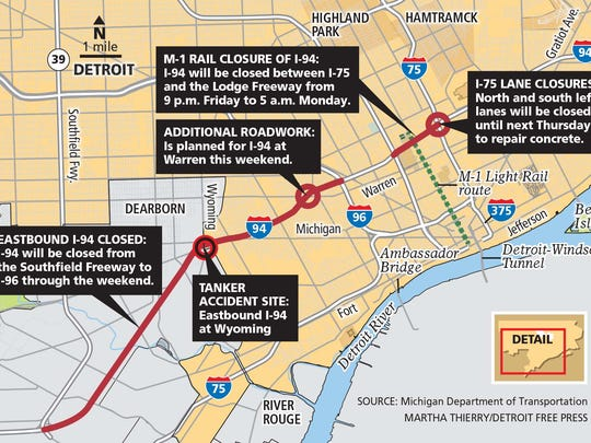 The eastbound lanes of I-94 will remain closed from the Southfield Freeway to I-96 through the weekend.