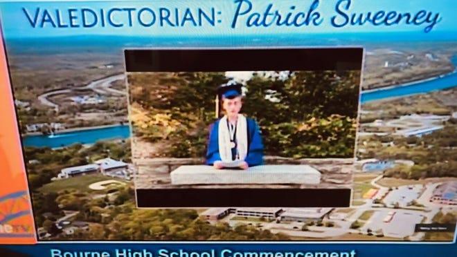 In these screen shots taken from Saturday's Bourne High School virtual graduation ceremony, valedictorian Patrick Sweeney, left, salutatorian Mya Cohen and honor essayist Lexis Grandel speak to fellow graduates, family and school faculty in prerecorded videos.