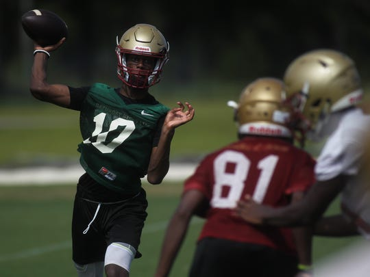 Quarterback Willie Taggart Jr. and Florida High's football team practices its first of the fall on Monday, July 30, 2018.