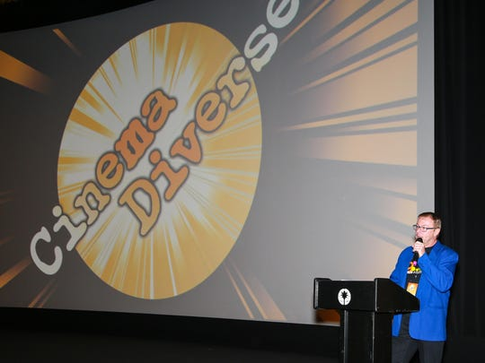 Michael Green, managing director of Cinema Diverse, introduces a film during the 2015 Palm Springs LGBT film festival.
