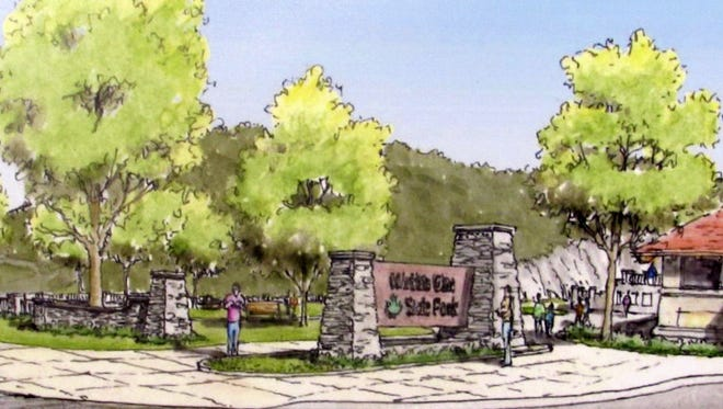 This is an artist's rendering of what the redesigned entrance to Watkins Glen State Park will look like.