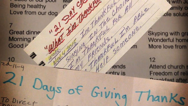 Judy Burke, choir director at Trinity Lutheran Church in Titusville, saw Jessica Saggio's 21 Day Gratitude Challenge story in the Florida Today and invited the church choir to participate in the three week challenge. A collage of a few of the lists.