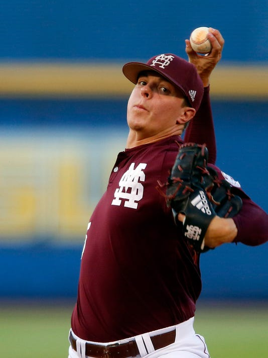 Mississippi State pitcher Jacob Billingsley (45) throws against Arkansas during the first inning of the Southeastern Conference NCAA college baseball tournament, Friday, May 26, 2017, in Hoover, Ala. (AP Photo/Butch Dill)