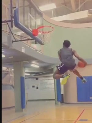 IU signee OG Anunoby goes airborne for this slam.