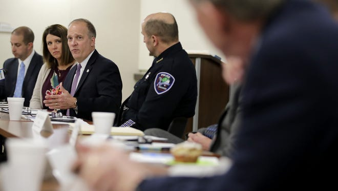 Attorney General Brad Schimel speaks during a Law Enforcement Roundtable for Outagamie County at the Appleton Police Department Friday in Appleton.