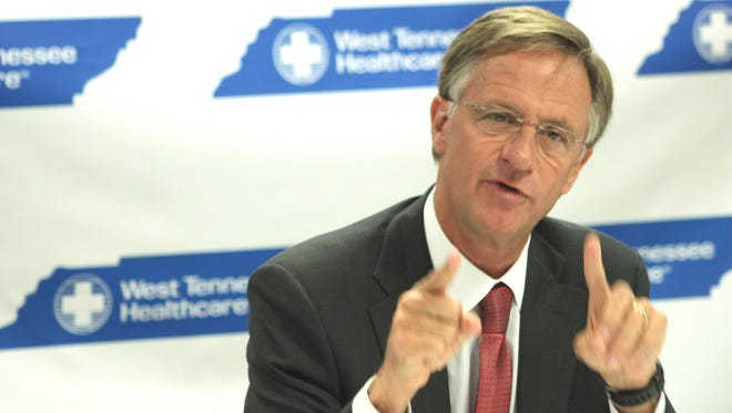 Gov. Bill Haslam addressed the media and local lawmakers in Jackson Wednesday morning to kick off his statewide tour of promoting his Insure Tennessee plan.