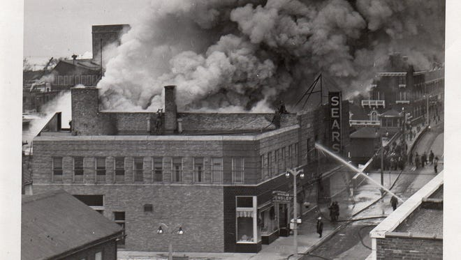 Sears fire looking from top of Freddie Bricks Restaurant on North 8th Street and York Streets, Manitowoc, on Jan. 16, 1944.