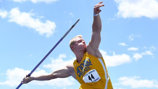 Angelo State University's Nils Fischer won the men's javelin throw at the NCAA Division II Outdoor Track and Field Championships Saturday, May 26, 2018, in Charlotte, North Carolina. It was the sophomore from Germany's second national title in two trips to the national meet.