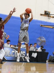 Jalen Jordan takes a shot for National Top Sports Institute in a game this season. Jordan is NTSI's top guard.