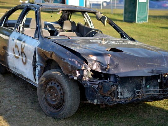 Cars arrive at the Champlain Valley Fair already scarred and dented as drivers prepare to push them to their limits at the Burnett Scrap Metal Double Figure 8 Race on August 30, 2017.