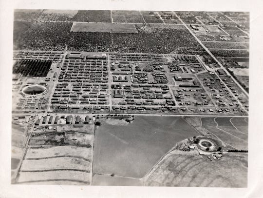 An aerial view of Crystal City Internment Camp during