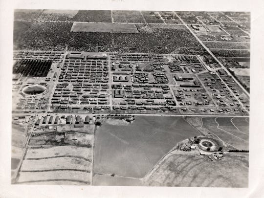 An aerial view of Crystal City Internment Camp during World War II.