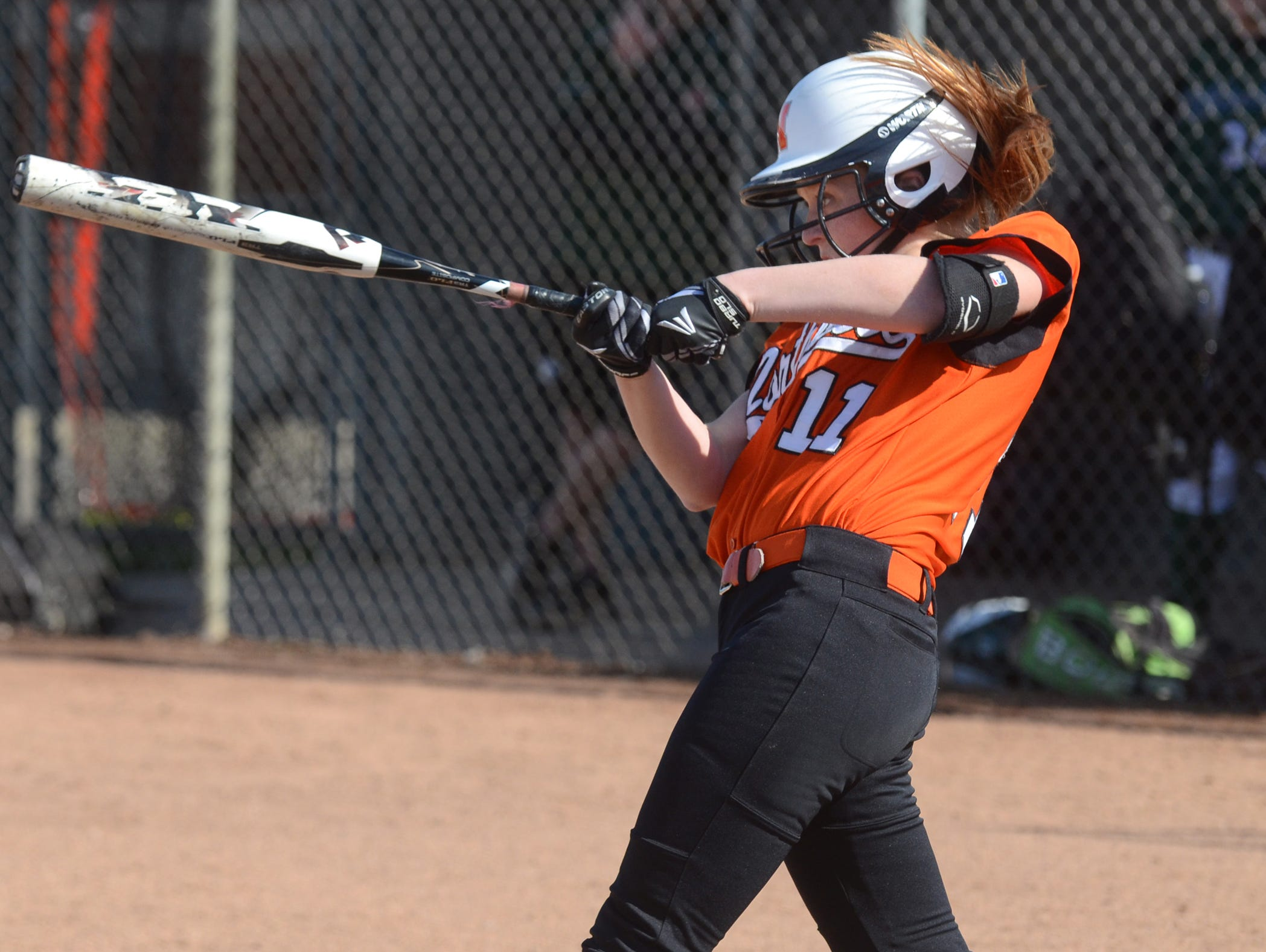 Northville freshman Sarah Hige hit a solo homer and grand slam in a 9-7 loss April 23 to Canton.