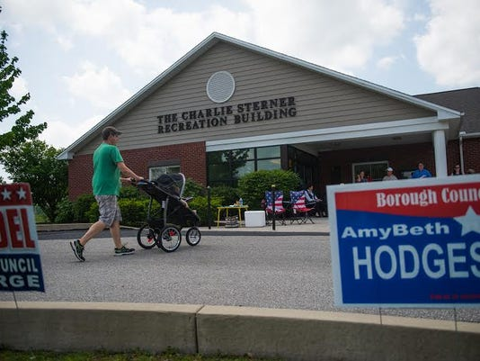 Voters head into the Gettysburg Area Recreation Authority to vote in the May 19 primary.