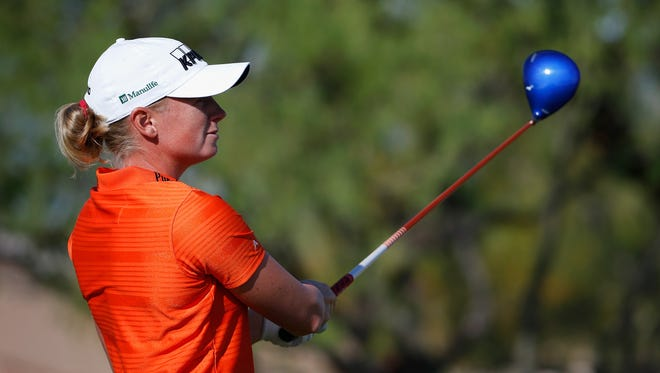 Stacy Lewis watches a tee shot during Friday's action at the JTBC Founders Cup.