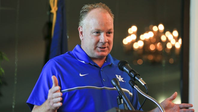 The University of Kentucky football coach Mark Stoops talks during the Governor's Cup luncheon at the Frankfort Country Club.