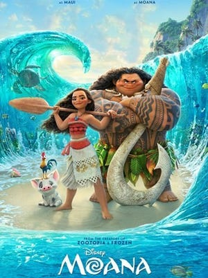 "Movie poster for ""Moana."" The movie will be shown at the Rotary Pavilion in Hart Park Aug. 22, 2017."