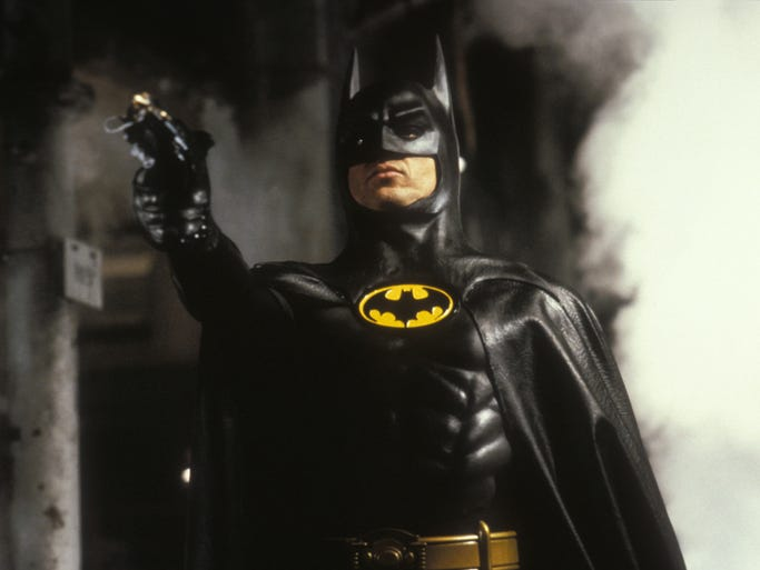 "Michael Keaton in a scene from the 1989 motion picture ""Batman."""