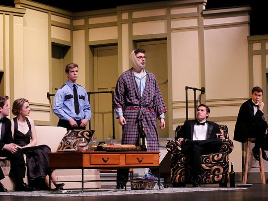 """Fond du Lac High School students rehearse a scene from their winter theater show """"Rumors."""" Left to right are Gavin Humbrick, Kirsten Larson, Brad Quackenboss, Austin Hazel, Will Mockert, Grant Petik and Maddie Mueller. The show will be performed at the Fond du Lac High School Performing Arts Center at 7:30 p.m. Feb. 4 through 6."""