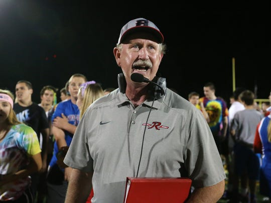 Roncalli Head Football Coach Bruce Scifres and his Rebels knocked off the No. 2 Brebeuf Braves in his 300th game coaching (221-79) as Roncalli's balanced offensive attack and defensive effort notched them a 21-17 win at Brebeuf, on Friday, September 26, 2014.