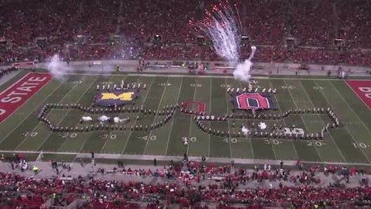 Ohio State's band performs at halftime.
