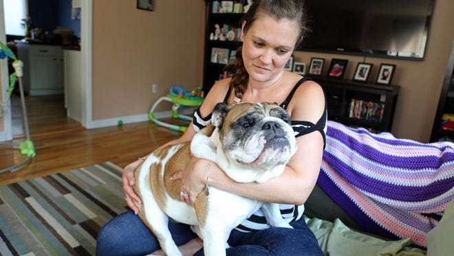 Chantel Carpentieri, who says her dog Bella was badly burned by a hair dryer while being groomed at The Paw Spa in Thornwood on July 3, at home in Hawthorne. Bella is now on a three-week regimen of antibiotics and medicated baths.