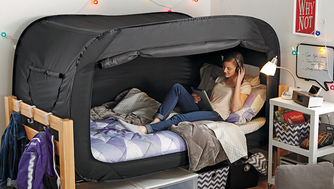 This bed tent is perfect for when you need a little down time in college.