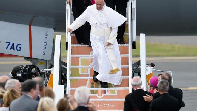 Pope Francis arrives at Philadelphia International Airport in Philadelphia, Saturday, Sept. 26, 2015. (AP Photo/Susan Walsh)
