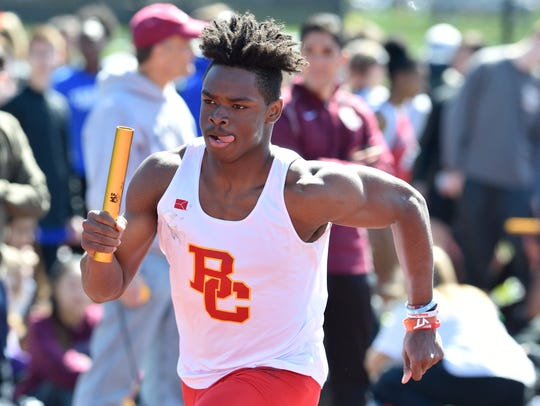 Rahmir Johnson of Bergen Catholic competes in the boys