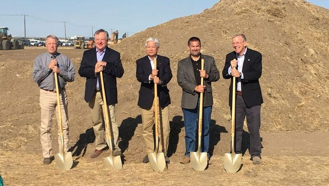 Officials from Columbia Grain, Marubeni, and Montana Specialty Mills break ground on a new production facility at AgriTech Park in Great Falls. Marubeni, which owns Columbia Grain, purchased one-half of Montana Specialty Mills in late December 2016.  From Left to Right: Jim Larson, Chair, Cascade County Commission Steve Chambers, President, Montana Specialty Mills, LLC Mitsuru Akiyoshi, Senior Executive Vice President and CEO of Food & Consumer Products Group, Marubeni Corporation Jeff VanPevenage, President/CEO, Columbia Grain, Inc. Bob Kelly, Mayor, City of Great Falls