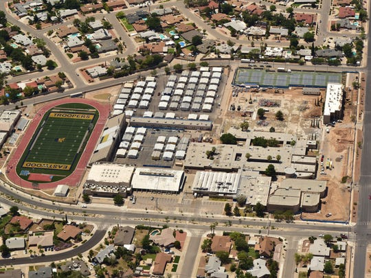 This aerial view of the on going construction taking place on the Eastwood High School campus, shows that the majority of the school has been demolished and many portables have been added to the campus.