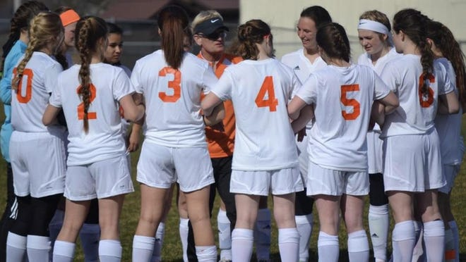 Cheboygan varsity girls soccer coach Mark Stormzand talks to his players before a game during the 2017 season. Stormzand, who retired after the 2018 campaign, had a successful 23-year run in charge of the program, guiding the Chiefs to several conference and district championships.