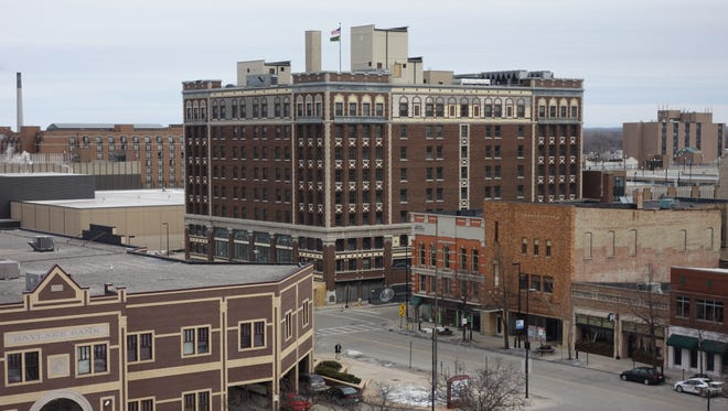 The Hotel Northland seen from the Cherry Street parking ramp in downtown Green Bay.