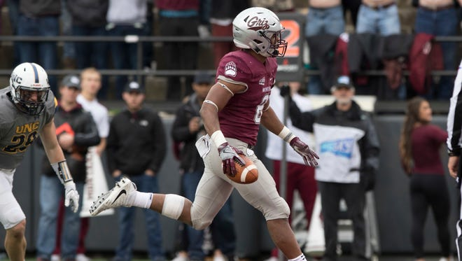 Montana running back Jeremy Calhoun rushes for a touchdown against Northern Colorado Saturday in Missoula.