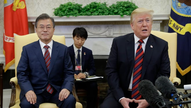 President Trump meets with South Korean President Moon Jae-In in the Oval Office Tuesday.